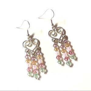 Heart and Multicolor Crystal Chandelier Earrings